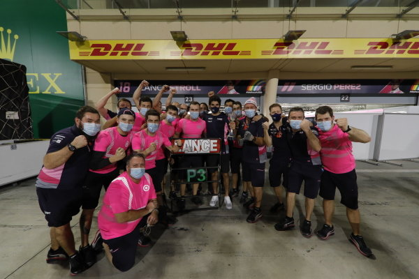 Lance Stroll, Racing Point, 3rd position, and the Racing Point team celebrate