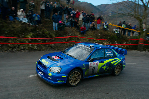 2003 FIA World Rally Championship. Monte Carlo, Monaco. Rd1.23-26 January 2003.Tommi Makinen/Kaj Lindstrom (Subaru Impreza WRC '03).World Copyright:www.mcklein de/LAT Photographicref: Digital Image