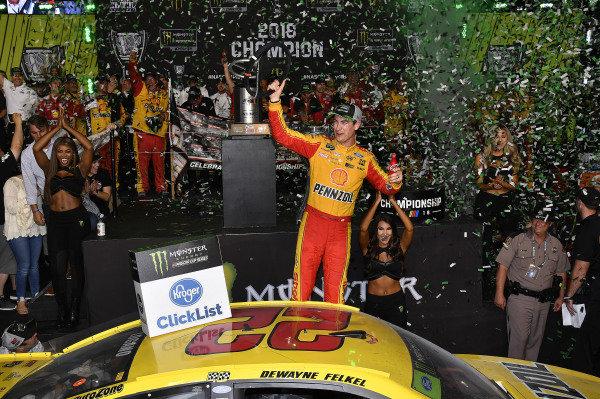 #22: Joey Logano, Team Penske, Ford Fusion Shell Pennzoil wins the 2018 NASCAR Monster Energy Series Championship.