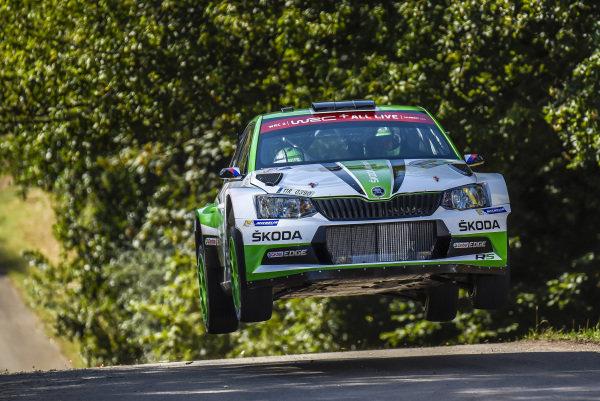 Jan Kopecky in a Skoda Fabia R5 was the man to beat on Rally Deutschland