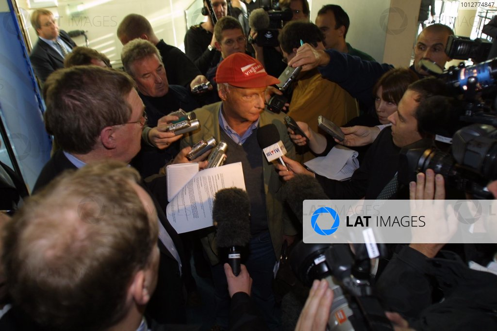 2002 FIA Formula One Commission MeetingLondon. England. 28th October 2002.Niki Lauda faces the media to discuss the announcements agreed during the meeting.World Copyright: Gavin Lawrence/LAT Photographicref: Digital Image Only