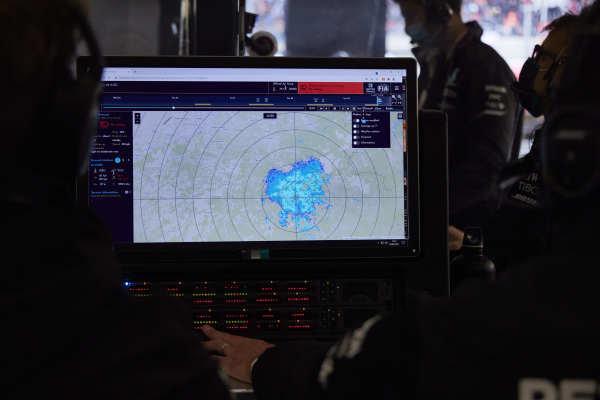 Weather radar screen in the Mercedes garage