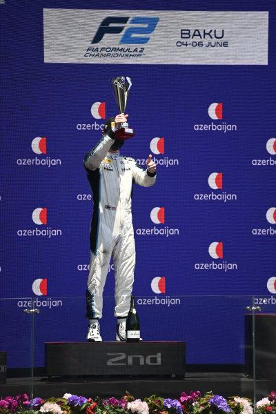 Oscar Piastri (AUS, Prema Racing), 2nd position, lifts his trophy