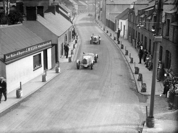Earl Howe, Bugatti T57TT, leads Brian Lewis, Bugatti T57TT.