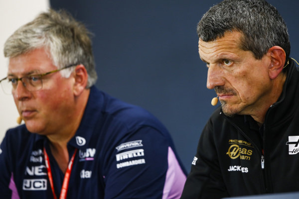 Guenther Steiner, Team Principal, Haas F1, and Otmar Szafnauer, Team Principal and CEO, Racing Point