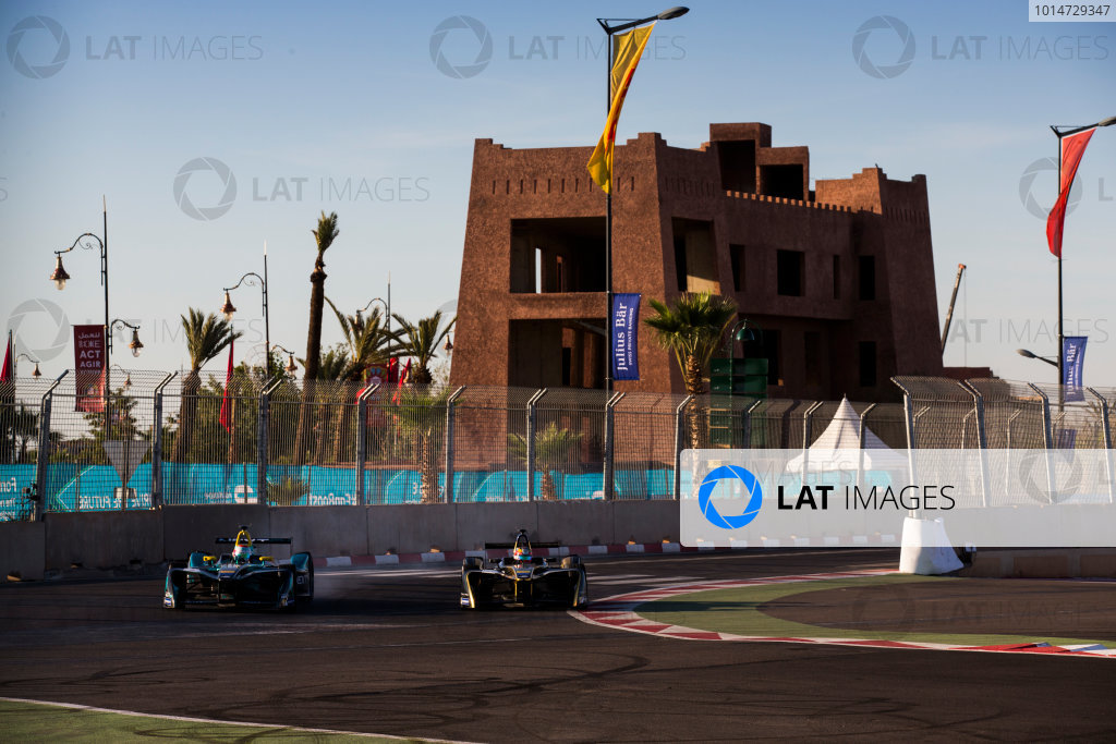 2016/2017 FIA Formula E Championship. Marrakesh ePrix, Circuit International Automobile Moulay El Hassan, Marrakesh, Morocco. Nelson Piquet (BRA), NextEV NIO, Spark-NEXTEV, NEXTEV TCR Formula 002 & Jean-Eric Vergne (FRA), Techeetah, Spark-Renault, Renault Z.E 16.  Saturday 12 November 2016. Photo: Sam Bloxham/LAT/Formula E ref: Digital Image _SBB7475