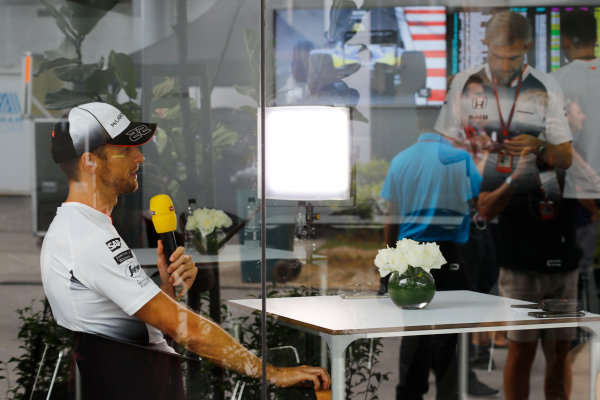 Sepang International Circuit, Sepang, Malaysia. Thursday 29 September 2016. Jenson Button, McLaren speaks to the media. World Copyright: Steven Tee/LAT Photographic ref: Digital Image _O3I9420