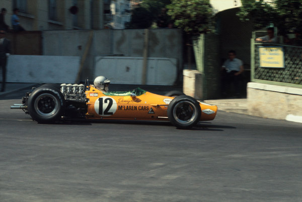 Monte Carlo, Monaco. 26 May 1968. Denny Hulme (McLaren M7A-Ford), 5th position, action. World Copyright: LAT Photographic. Ref: 68MON15..
