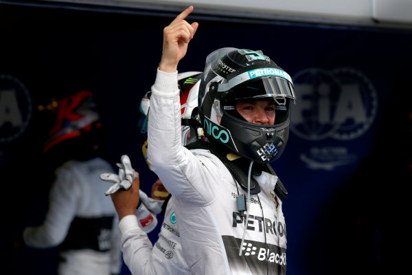 Red Bull Ring, Spielberg, Austria. Sunday 22 June 2014. Nico Rosberg, Mercedes AMG, 1st Position, celebrates in Parc Ferme. World Copyright: Glenn Dunbar/LAT Photographic. ref: Digital Image _W2Q2075