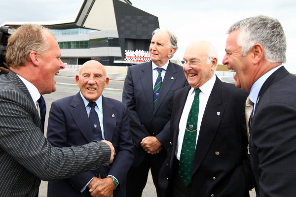 (L to R): Johnny Herbert (GBR), Sir Stirling Moss (GBR), John Watson (GBR), Murray Walker (GBR) and Derek Warwick (GBR). Silverstone Wing Official Opening, Silverstone, England, 17 May 2011.