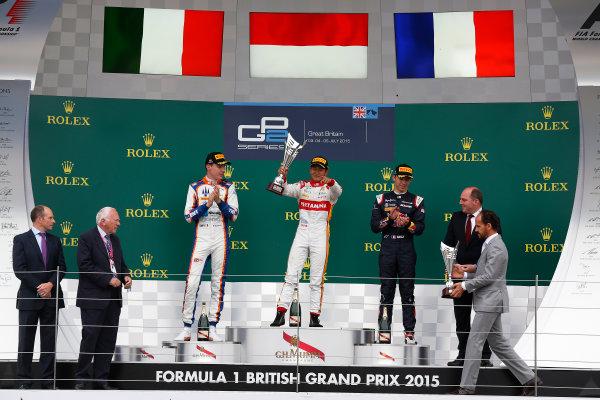 2015 GP2 Series Round 5.  Silverstone, Northamptonshire, England. Sunday 5 July 2015. Rio Haryanto (INA, Campos Racing), Raffaele Marciello (ITA, Trident) & Pierre Gasly (FRA, DAMS)  Photo:  Sam Bloxham/GP2 Media Service ref: Digital Image _SBL1905