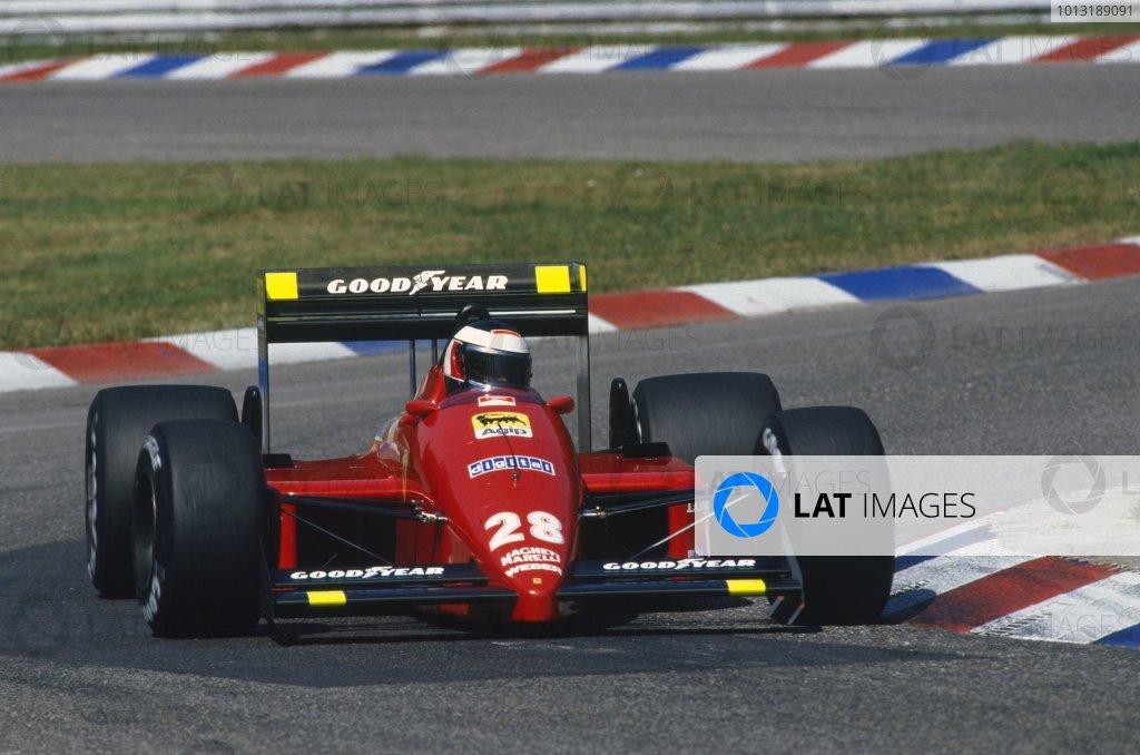 1987 German Grand Prix.Hockenheim, Germany.24-26 July 1987.Gerhard Berger, Ferrari F1-87, retired, action.World Copyright - LAT Photographic