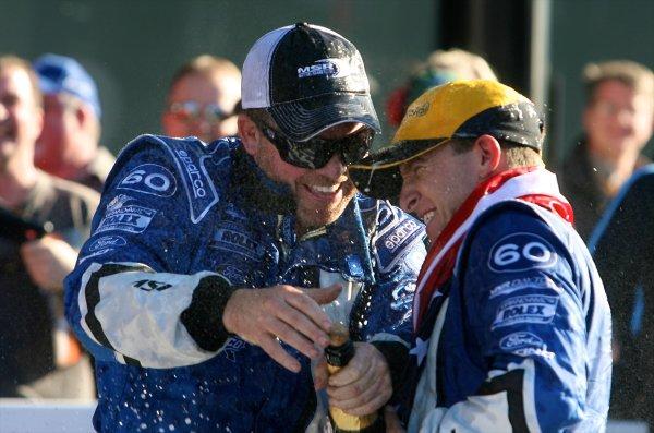 26-29 January, 2012, Daytona Beach, Florida USACar owner Michael Shank , left, celebrates with driver AJ Allmendnger in Victory Lane following the Rolex 24 at Daytona.(c)2012, R D. EthanLAT Photo USA