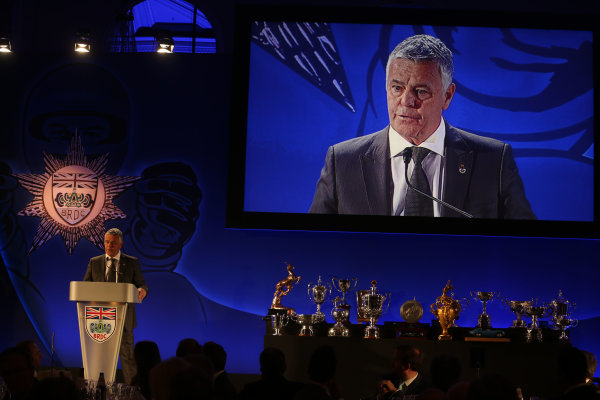 2014 BRDC Annual Awards The Grand Connaught Rooms, London, UK Monday 8 December 2014. Derek Warwick on stage. World Copyright: Ebrey/LAT Photographic. ref: Digital Image Warwick-03