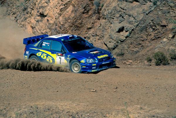 2003 World Rally ChampionshipRally of Cyprus, Cyprus. 19th - 22nd June 2003.Rally winner Petter Solberg/Philip Mills (Subaru Impreza WRC 2003), podium.World Copyright: McKlein/LAT Photographicref: 03WRCCyprus20