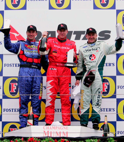 2005 Australian V8 SupercarsAlbert Park, Melbourne, Australia. 4th - 6th March.Mark Skaife, Marcos Ambrose and Russell Ingall on the race 3 podium.World Copyright: Mark Horsburgh/LAT Photographicref: Digital Image Only