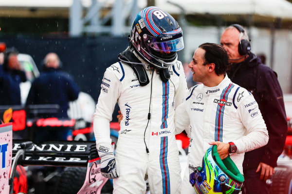 Autodromo Nazionale di Monza, Italy. Saturday 02 September 2017. Lance Stroll, Williams Martini Racing, and Felipe Massa, Williams Martini Racing, in Parc Ferme after Qualifying. World Copyright: Zak Mauger/LAT Images  ref: Digital Image _56I7607