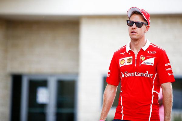 Circuit of the Americas, Austin, Texas, United States of America. Thursday 19 October 2017. Sebastian Vettel, Ferrari. World Copyright: Andy Hone/LAT Images  ref: Digital Image _ONZ5314
