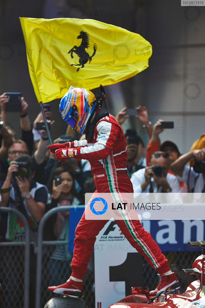 Shanghai International Circuit, Shanghai, China Sunday 13th April 2013 Fernando Alonso, Ferrari, 1st position, celebrates in Parc Ferme. World Copyright: Steve Etherington/LAT Photographic ref: Digital Image SNE16316 copy
