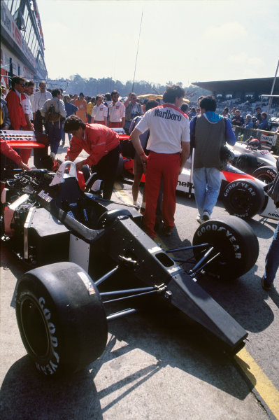Imola, Italy. 29th April - 1st May 1988. Ayrton Senna (McLaren MP4/4-Honda), 1st position, car in the pit lane during qualifying, action. World Copyright: LAT Photographic Ref: 88SM