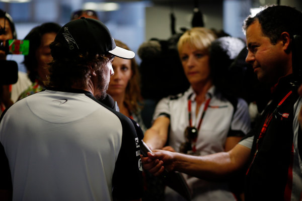 Hungaroring, Budapest, Hungary. Thursday 23 July 2015. Fernando Alonso, McLaren, talks to the press. World Copyright: Steven Tee/LAT Photographic ref: Digital Image _L4R5710