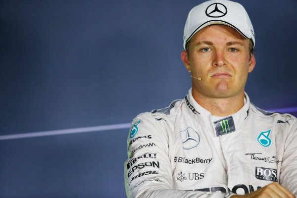Hungaroring, Budapest, Hungary. Saturday 25 July 2015. Nico Rosberg, Mercedes AMG, in the post qualifying Press Conference. World Copyright: Alastair Staley/LAT Photographic ref: Digital Image _79P8658