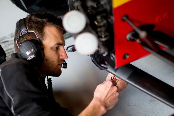 Circuit de Barcelona Catalunya, Barcelona, Spain. Monday 13 March 2017. A Racing Engineering) mechanic at work.  Photo: Alastair Staley/FIA Formula 2 ref: Digital Image 585A6786