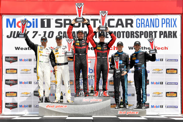 7-10 July 2016, Bowmanville, Ontario Canada Prototype winners podium 31, Chevrolet, Corvette DP, P, Eric Curran, Dane Cameron, 10, Chevrolet, Corvette DP, P, Ricky Taylor, Jordan Taylor, 5, Chevrolet, Corvette DP, P, Joao Barbosa, Christian Fittipaldi ?2016, Scott R LePage  LAT Photo USA