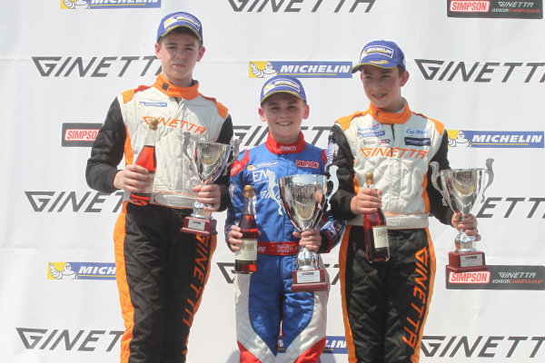 Ginetta Junior Championship, Oulton Park, 4-5 June 2016. Podium, Tom Gamble (GBR) HHC Motorsport Ginetta Junior, Harry King (GBR) Elite Motorsport Ginetta Junior, Tom Wood (GBR) Elite Motorsport Ginetta Junior. World copyright. Ebrey/LAT Photographic