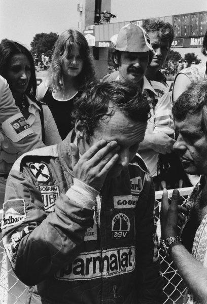 Paul Ricard, Le Castellet, France. 2nd - 4th July 1976. Niki Lauda (Ferrari 312T2). retired, portrait.  World Copyright: LAT Photographic.  Ref:  SL76 - 401 - 12.