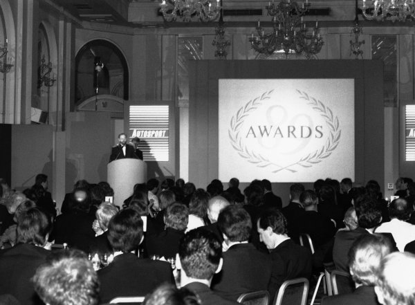 1989 Autosport Awards. Cafe Royal, London, England. 4th January 1990. Peter Foubister greets the guests at the start of the evening. World Copyright: LAT Photographic. Ref: Colour Transparency.