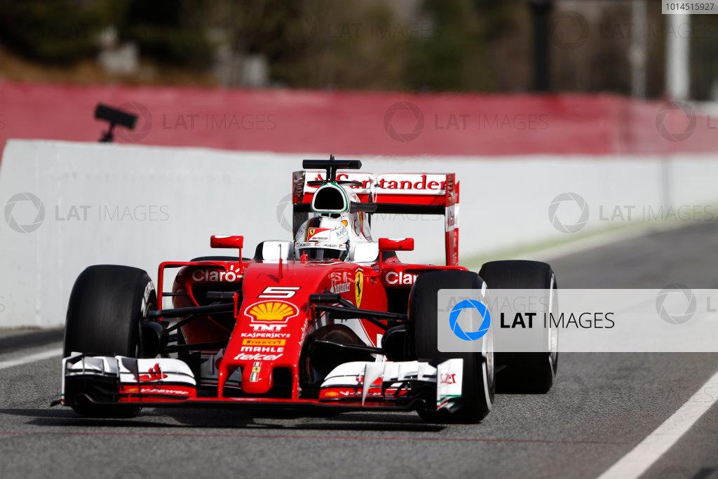 Circuit de Catalunya, Barcelona, Spain Monday 22 February 2016. Sebastian Vettel, Ferrari SF16-H, in the pit lane. World Copyright: Sam Bloxham/LAT Photographic ref: Digital Image _SBL4672