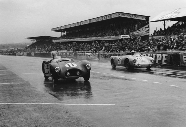 Le Mans, France. 12th - 13th June 1954 Serge Blanc/Serge Nersessian (Talbot T26), DQ, is passed by Zora Arcus-Duntov/Gustave Olivier (Porsche 550/1500 RS Spyder), 14th position, action. World Copyright: LAT Photographic Ref: 5343I - 23-23A.