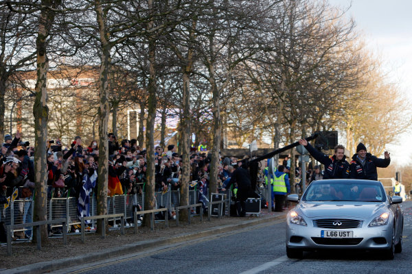 Milton Keynes.  Saturday 10th December 2011.Sebastian Vettel, Red Bull Racing RB7 Renault and Adrian Newey, Chief Technical Officer, Red Bull Racing wave to the crowd. Photo: Alastair Staley/LAT Photographic.Ref: Digital Image _O9T5422 jpg