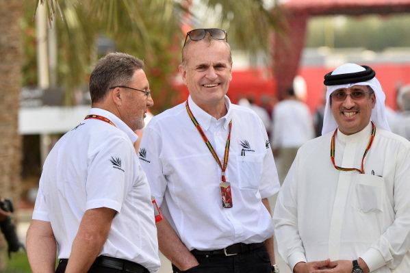 (L to R): Richard Phillips (GBR) Silverstone Managing Director; Neil England (GBR) non-Executive Chairman of Silverstone Holdings Ltd and Shaikh Mohammed bin Isa Al Khalifa (BRN) Political and Economic Adviser to HRH the Crown Prince's Court and McLaren Shareholder. Formula One World Championship, Rd3, Bahrain Grand Prix, Practice, Bahrain International Circuit, Sakhir, Bahrain, Friday 4 April 2014.