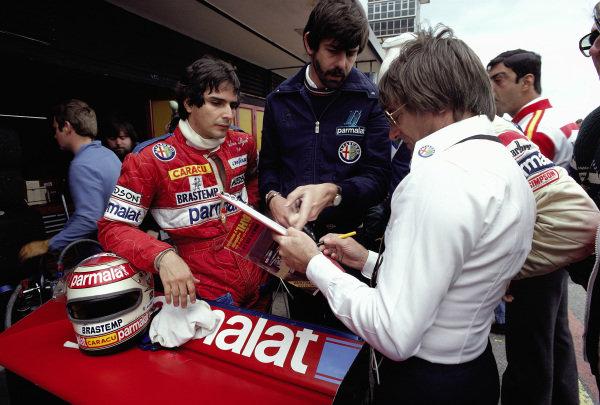 Nelson Piquet, Gordon Murray, Niki Lauda and Bernie Ecclestone.
