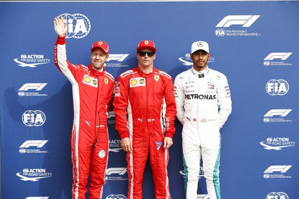 Kimi Raikkonen, Ferrari, on pole position, Sebastian Vettel, Ferrari, in 2nd, and Lewis Hamilton, Mercedes AMG F1, in 3rd.