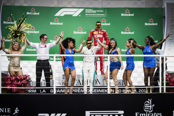Lewis Hamilton, Mercedes AMG F1, 1st position, celebrates with Samba dancers on the podium