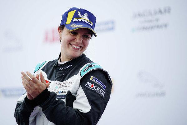 Katherine Legge (GBR), Rahal Letterman Lanigan Racing on the podium