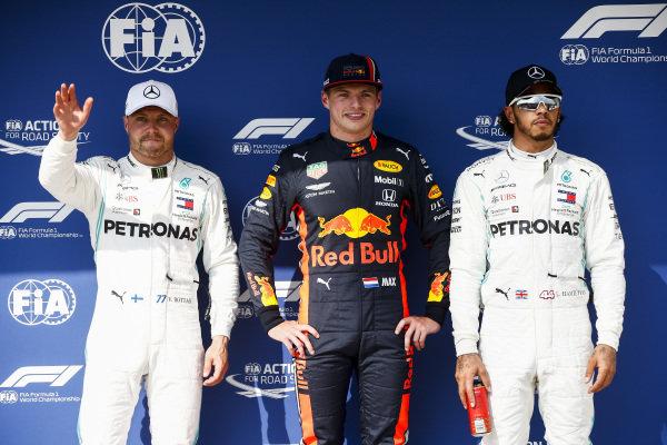 Top three Qualifiers Valtteri Bottas, Mercedes AMG F1, pole man Max Verstappen, Red Bull Racing, and Lewis Hamilton, Mercedes AMG F1