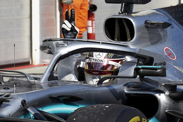 Lewis Hamilton, Mercedes AMG F1 W10, 1st position, arrives in Parc Ferme