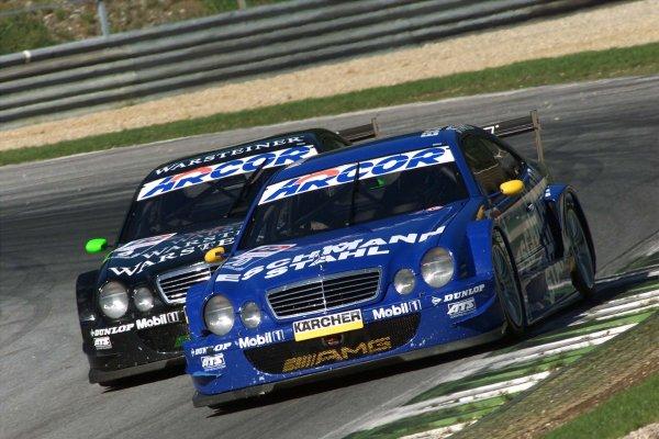 2001 DTM ChampionshipA1 Ring, Austria. 8th - 9th September 2001.The Eschmann Mercedes Benz CLK of Patrick Huismann, leads the AMG Mercedes Benz CLK of Marcel Fassler, action.World Copyright: G. & H. M-ller/ASA?LAT Photographicref: Digital Image Only
