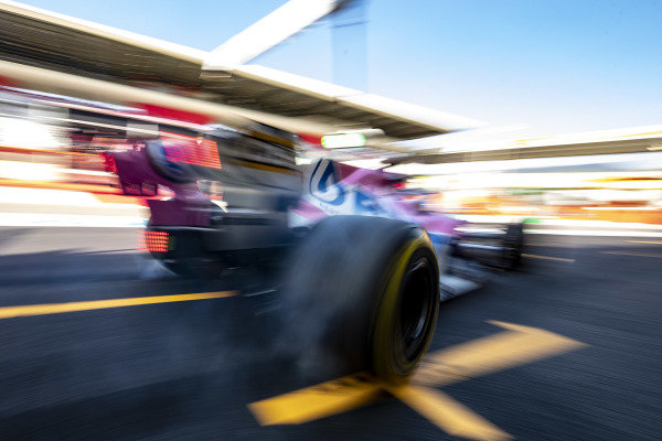 Lance Stroll, Racing Point RP20 leaves his pit box