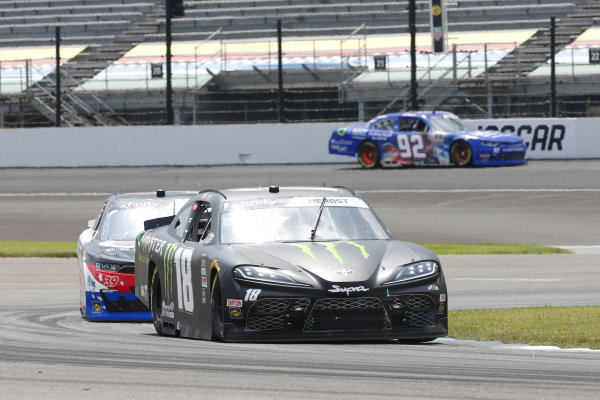 #18: Riley Herbst, Joe Gibbs Racing, Toyota Supra Monster Energy, #39: Ryan Sieg, RSS Racing, Chevrolet Camaro CMRRoofing.com