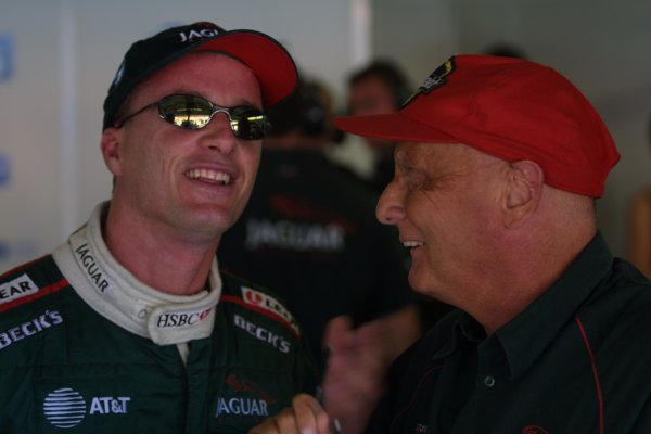 2001 German Grand PrixHockenheim, Germany. 27th July 2001Eddie Irvine, Jaguar R2, and Niki Lauda. Portrait.World Copyright - LAT PhotographicRef: 9 MB Digital File Only
