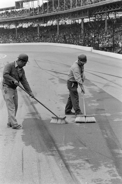 The track is cleaned by marshals.