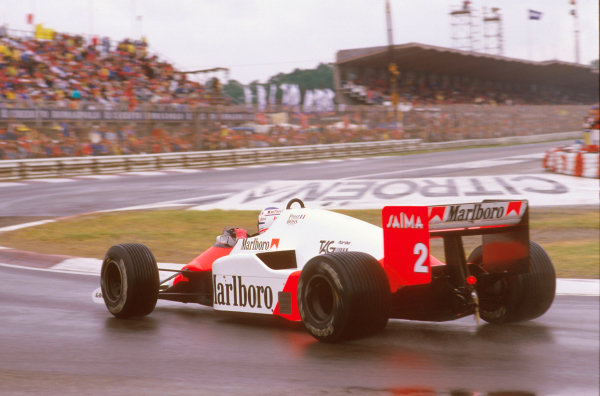 Imola, Italy. 3-5 May 1985. Alain Prost (McLaren MP4/2B TAG Porsche) 1st position, but later disqualified due to the car being under weight at the finish. Ref-85 SM 09. World Copyright - LAT Photographic