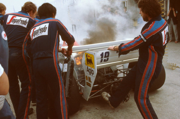 Brands Hatch, England.20-22 July 1984.At the end of Saturday mornings qualifying session, Ayrton Senna's turbocharger expired spectacularly in the back of his Toleman TG184 Hart.Ref-84 GB 26.World Copyright - LAT Photographic