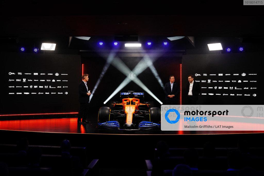 Simon Lazenby, Sky TV, Zak Brown, Executive Director, McLaren, and Andreas Seidl, Team Principal, McLaren, at the launch of the McLaren MCL35