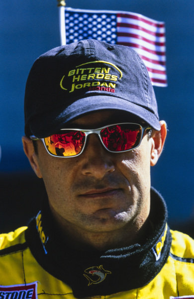 Jean Alesi. Jordan sported 'Bitten Heroes' in place of its usual sponsor to show solidarity with the United States after the 9/11 terror attacks on the World Trade Center in New York.